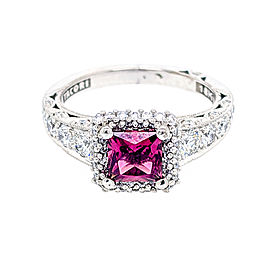 Tacori 18k White Gold 5.50mm Rhodolite Garnet & Diamonds Ring