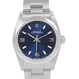 Rolex Midsize 31 Blue Dial Oyster Bracelet Steel Ladies Watch 77080