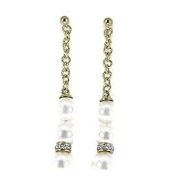 David Yurman 18K Yellow Gold South Sea Cultured Pearl, Pave Diamond Drop Earrings