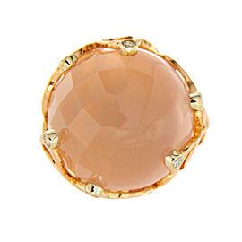 Chimento 18K Rose Gold Pink Quartz & Diamonds Boule Ring Size 6.5