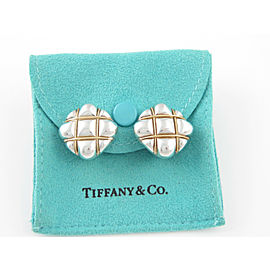 Tiffany & Co Silver/18K Yellow Gold RARE Puff Square Clip On Earring
