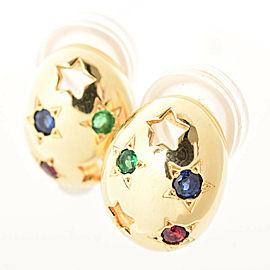 MIKIMOTO 18k Yellow Gold Emerald Sapphire Ruby Earring