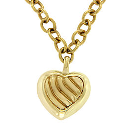 David Yurman 18K Yellow Gold Cable Heart Necklace