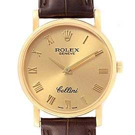 Rolex Cellini Classic 32mm Yellow Gold Brown Strap Mens Watch 5115