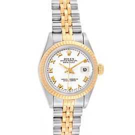 Rolex Datejust Steel Yellow Gold White Roman Dial Ladies Watch 69173