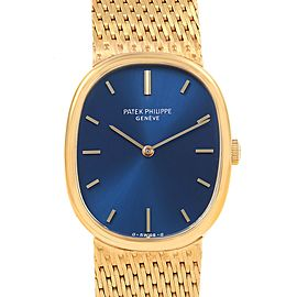 Patek Philippe Golden Ellipse 18k Yellow Gold Blue Dial Mens Watch 3548