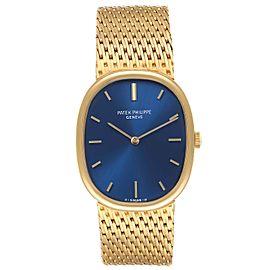 Patek Philippe Golden Ellipse 18k Yellow Gold Blue Dial Ladies Watch 3548