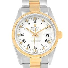 Rolex Date Mens Steel 18k Yellow Gold White Dial Mens Watch 15223