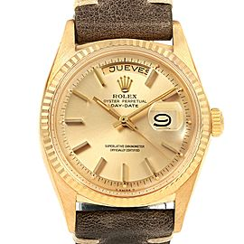 Rolex President Day-Date 18k Yellow Gold Brown Strap Mens Watch 1803
