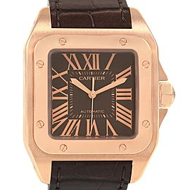 Cartier Santos 100 Steel Rose Gold Brown Dial Mens Watch W20127Y1