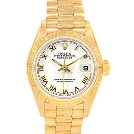 Rolex President Datejust 26 Yellow Gold White Dial Ladies Watch 69278