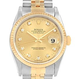 Rolex Datejust 36mm Steel Yellow Gold Diamond Dial Unisex Watch 16233