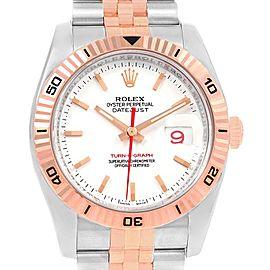 Rolex Turnograph Datejust Steel 18K Rose Gold Mens Watch 116261