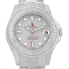 Rolex Yachtmaster 35 Midsize Steel Platinum Dial Bezel Mens Watch 168622
