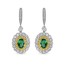 Leibish 18K White and Yellow Gold with 1.87ctw Green Emerald and Diamond Drop Earrings