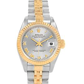 Rolex Datejust Steel Yellow Gold Slate Roman Dial Ladies Watch 69173
