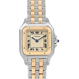 Cartier Panthere Steel Yellow Gold 2 Row Ladies Watch W25029B6 Box