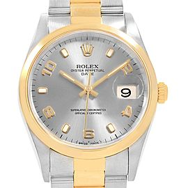 Rolex Date Mens Steel Yellow Gold Slate Dial Mens Watch 15203 Box