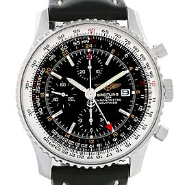 Breitling Navitimer World GMT Steel Black Dial Watch A24322 Papers