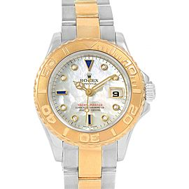 Rolex Yachtmaster 29 Yellow Gold Steel MOP Sapphire Ladies Watch 169623