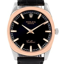 Rolex Cellini Danaos 18k White and Rose Gold Black Dial Watch 4243