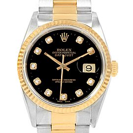 Rolex Datejust 36 Steel Yellow Gold Black Diamond Dial Mens Watch 16233