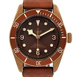 Tudor Heritage Black Bay Automatic Bronze Dial Leather Strap Watch 79250