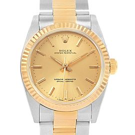 Rolex Midsize 31 Yellow Gold Steel Oyster Bracelet Ladies Watch 67513