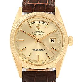 Rolex President Day-Date 18K Yellow Gold Brown Strap Mens Watch 1807