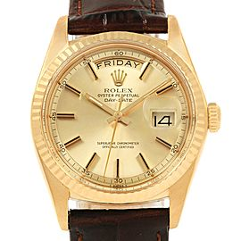 Rolex President Day-Date 18k Yellow Gold Brown Strap Mens Watch 1804