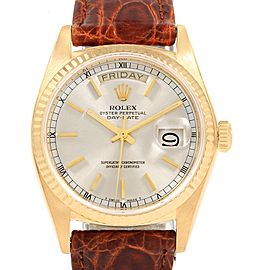 Rolex President Day-Date Yellow Gold Brown Strap Mens Watch 18038