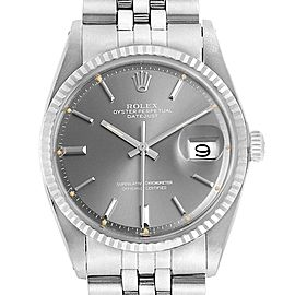 Rolex Datejust Steel White Gold Grey Dial Vintage Mens Watch 1601