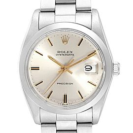 Rolex OysterDate Precision Steel Silver Dial Vintage Mens Watch 6694