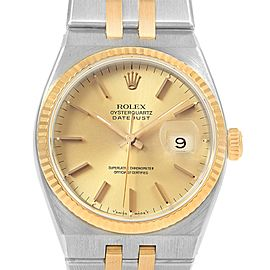 Rolex Oysterquartz Datejust 36 Steel Yellow Gold Mens Watch 17013
