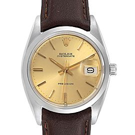 Rolex OysterDate Precision Brown Strap Steel Vintage Mens Watch 6694
