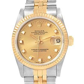 Rolex Datejust 31 Midsize Steel Yellow Gold Diamond Ladies Watch 68273