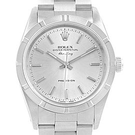 Rolex Air King 34mm Silver Dial Steel Mens Watch 14010 Box Papers