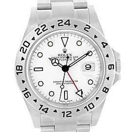 Rolex Explorer II White Dial Red Hand Steel Watch 16570 Box