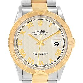 Rolex Datejust Turnograph Steel Yellow Gold Pyramid Dial Watch 16263