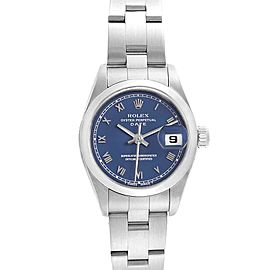 Rolex Date Blue Dial Oyster Bracelet Steel Ladies Watch 69160