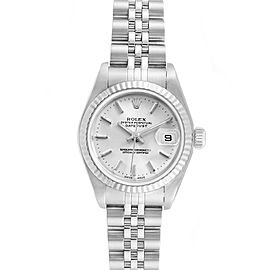 Rolex Datejust Ladies Steel White Gold Silver Baton Dial Watch 79174