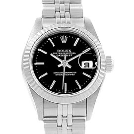 Rolex Datejust Steel White Gold Black Dial Ladies Watch 79174