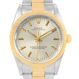 Rolex Oyster Perpetual Steel 18k Yellow Gold Mens Watch 14233 Box Papers