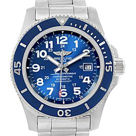 Breitling Superocean II 44 Gun Blue Dial Mens Watch A17392 Box Card