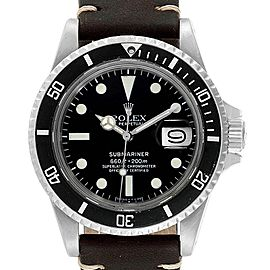 Rolex Submariner Vintage Brown Strap Steel Mens Watch 1680