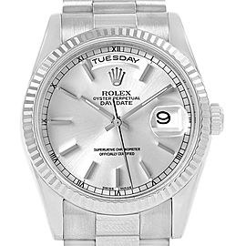 Rolex Day-Date President 18k White Gold Silver Dial Mens Watch 118239
