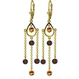 3 CTW 14K Solid Gold Gilded Age Citrine Garnet Earrings