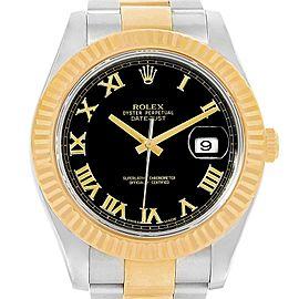 Rolex Datejust II Steel Yellow Gold Black Dial Watch 116333 Box Card