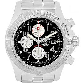 Breitling Aeromarine Super Avenger Black Dial Watch A13370 Box Papers
