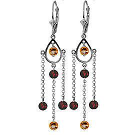 3 CTW 14K Solid White Gold Freedom Costs Citrine Garnet Earrings
